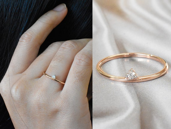 Size 7US Dainty Stacked Skinny 0.04 ct Handmade Affordable Modern Jewelry Gift Open 14k Solid Rose Gold Thin Wedding Band Natural Diamond Promise Ring Diamond Ring for Women