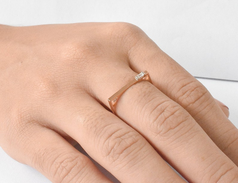 Baguette Diamond Bar Ring Labor Day Sale Bar Diamond Ring Stacking Ring Minimalist Thin Everyday Modern Ring 14k Gold Flat Bar Ring