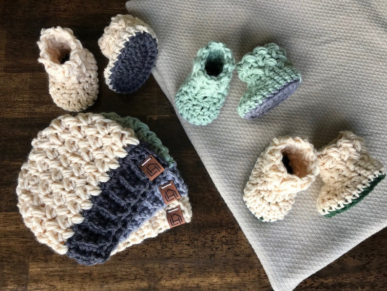 21e67d0a30bf8 Two-Tone Newborn Hat and Bootie Set (Wool Blend) [Ready to Ship]