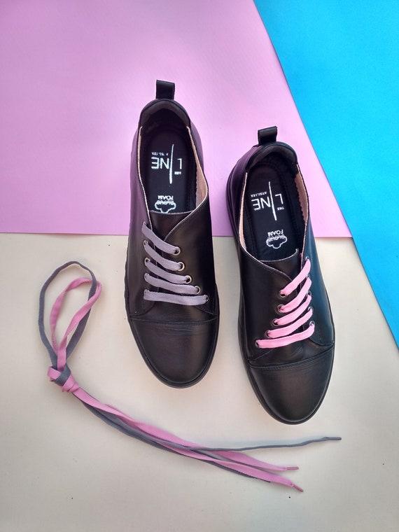 Sur Minimalistes Cuir Chaussures Noir Mesure Basket En S BUn7qO