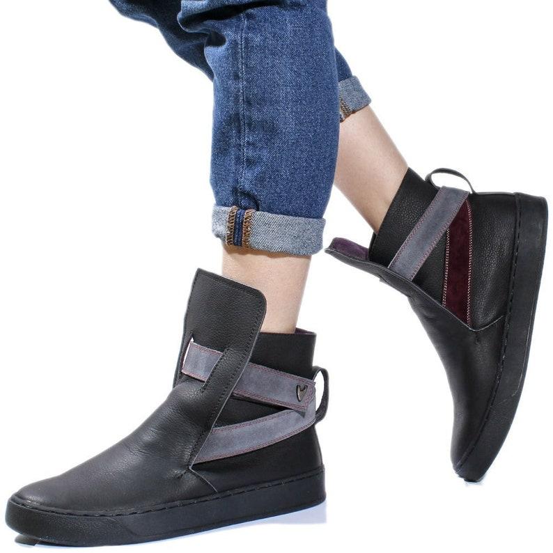 e5c135683bf9 Black women designer booties ladies genuine leather low heel