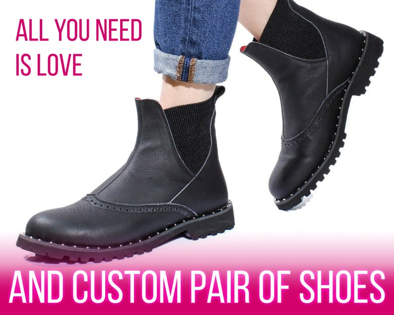 ddeadc388ac3 Black women Chelsea shoes Leather ankle boots Custom flat