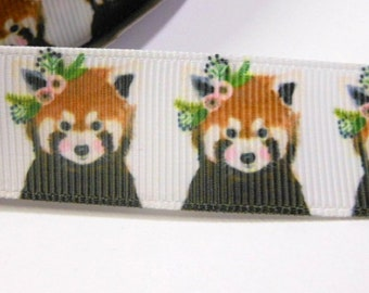 1.70 Euro/meter Red Panda with flowers 22 mm bristle ribbon,
