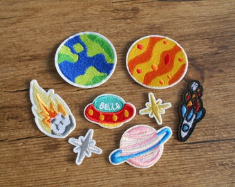 8 Patch Set Space Planet Patches Embroidered for Ironing Application