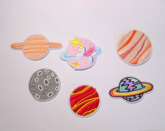 Planet, planet, moon, unicorn, star, embroidered for ironing on patch