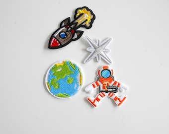 Sets Space Planet Patch Embroidered for IronIng Application, Astronaut, Rocket