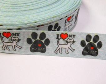 1,90 Euro / Meter , I love my Cat 22 mm Borte Ripsband, Cat, Cat, Kitty, Animal Welfare,