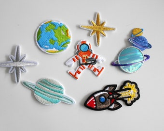 Large Set Space Planet Patch Embroidered for Ironing Application