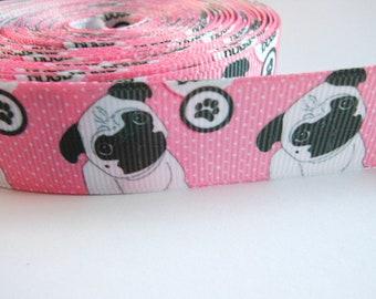 2,00 Euro/meter Pug with paw 22 mm border grosgrain ribbon, dog, paw, pink,