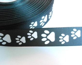 2.00 Euro/meter paw black white 22 mm bristle ribbon