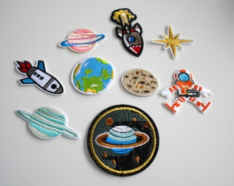 XXL Set Space Planet Patch embroidered for ironing application
