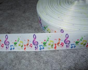 1.90 Euro /meter sheet music colorful sheet music 22 mm bristle ribbon, choir, music, voice,