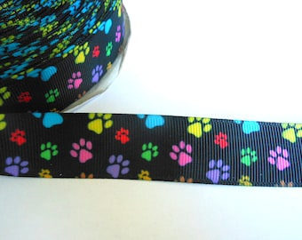 1.90 Euro/meter paw black colorful 22 mm bristle ribbon, dog, cat, paws,