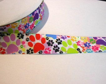 1.90 Euro/meter paw colorful 22 mm bristle ribbon paws