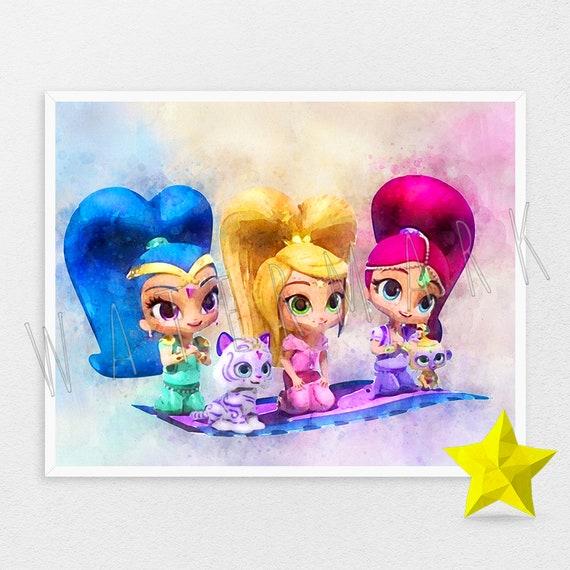 precio al por mayor verdadero negocio el precio más baratas Shimmer and Shine print Shimmer and Shine poster Wall Art Print Instant  Download Nursery Wall Decor Birthday Baby Print Wall Hangings