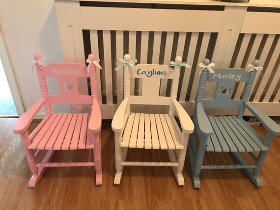 Marvelous Personalised Wooden Childrens Rocking Chair Pink Blue Or White Pabps2019 Chair Design Images Pabps2019Com