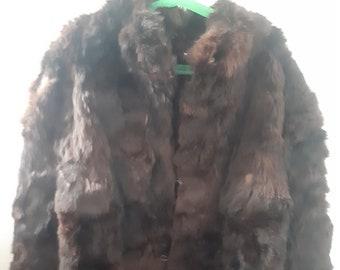 5060c0122828 Vintage 100% French Rabbit Fur Coat