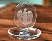 Lalique France pre-1978 Bicentennial Eagle Crystal Pin or Ring Dish