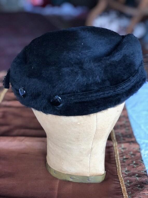 1950s Elsa Schiaparelli Fur Felt Turned Brim Blac… - image 4