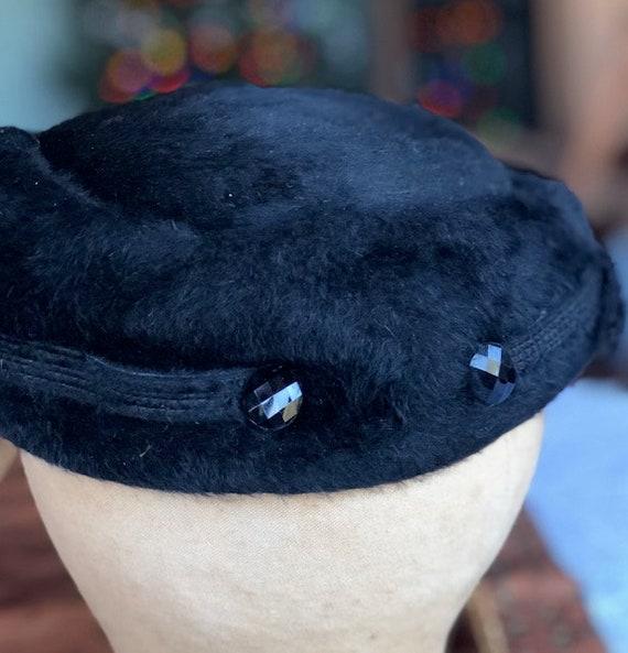 1950s Elsa Schiaparelli Fur Felt Turned Brim Blac… - image 2