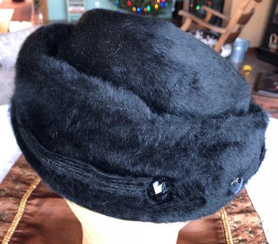 1950s Elsa Schiaparelli Fur Felt Turned Brim Blac… - image 10
