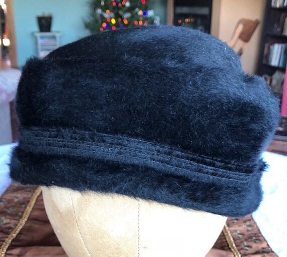 1950s Elsa Schiaparelli Fur Felt Turned Brim Blac… - image 9