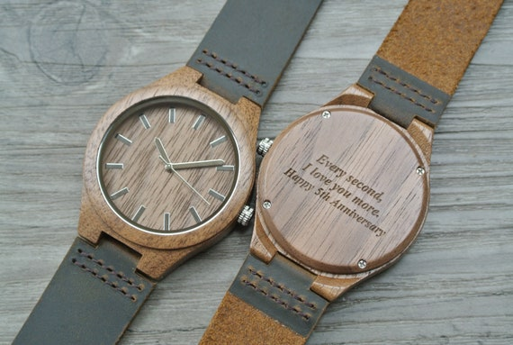 Engraved Watch Men Wood Watches 5th Anniversary Gifts For Etsy