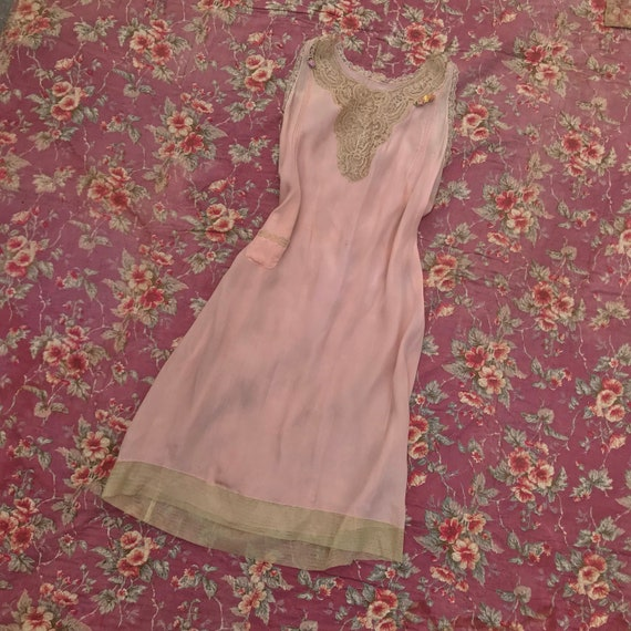 1920s Pink Slip Dress With Lace and Flowers