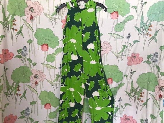 60s Green Abstract Floral Romper / Jumpsuit