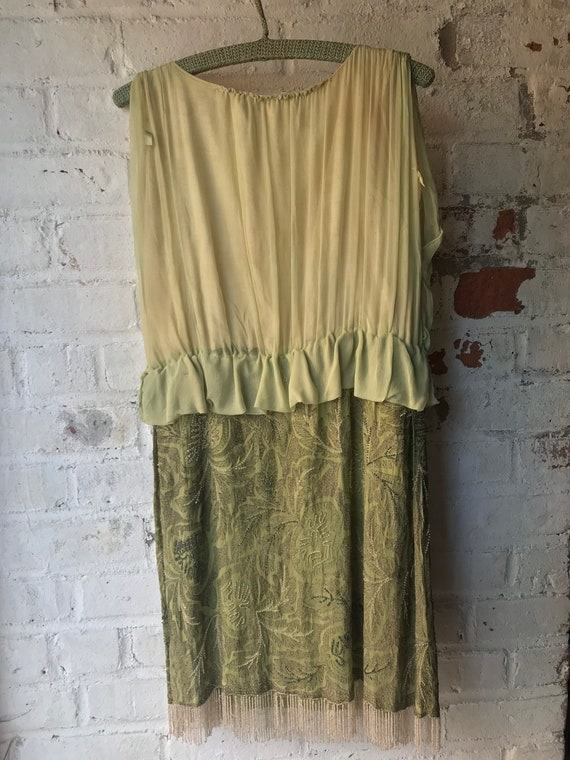 1920s Pistachio Green Beaded Radish Dress