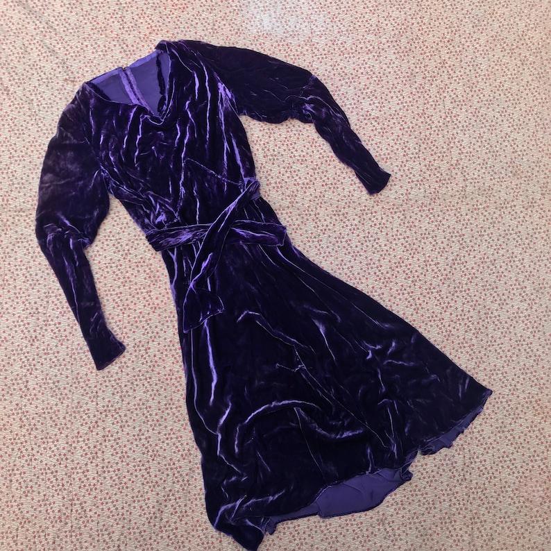1930s Purple Grape Velvet Dress