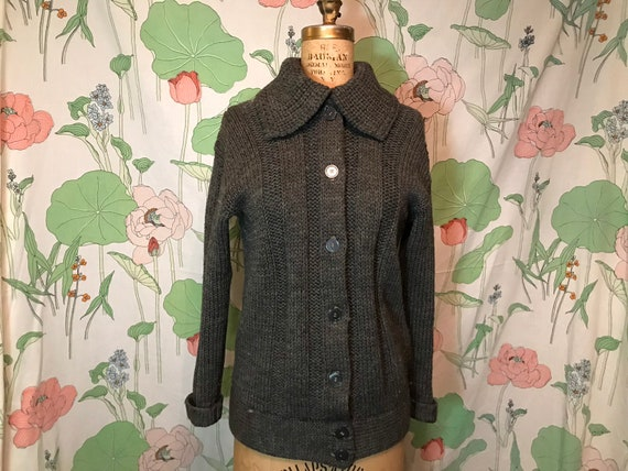 1940s Grey Wool Womens Cardigan Sweater