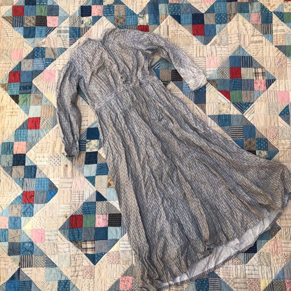 Light Grey Antique Calico Dress