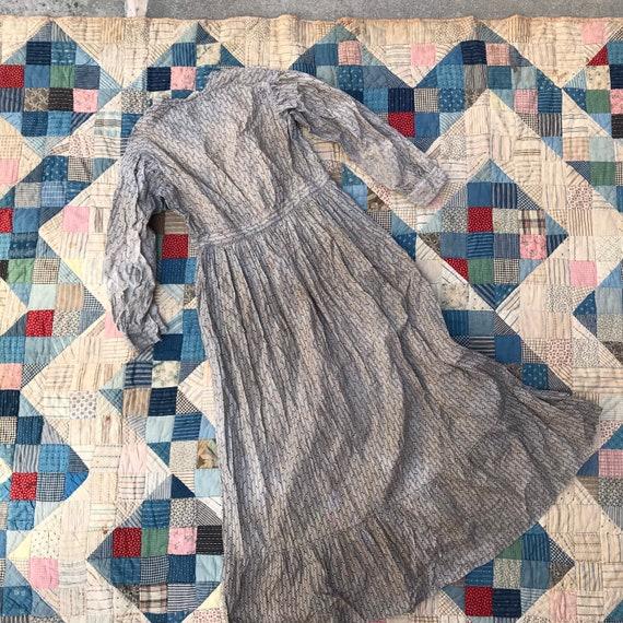 Light Grey Antique Calico Dress - image 5