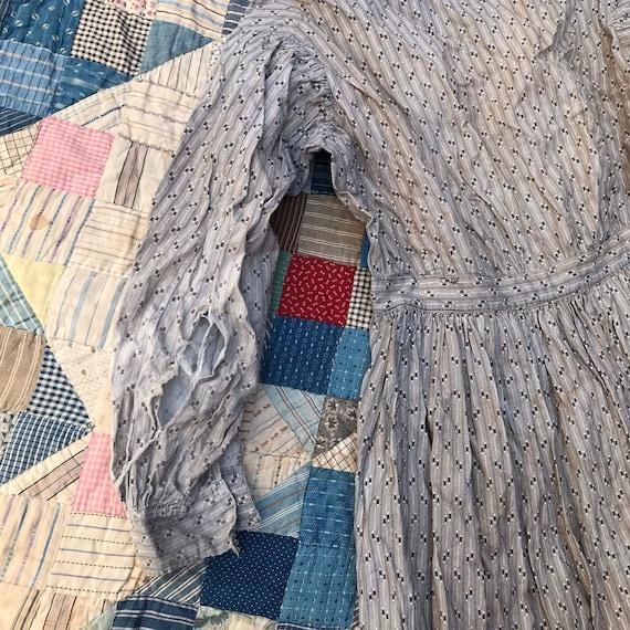 Light Grey Antique Calico Dress - image 6