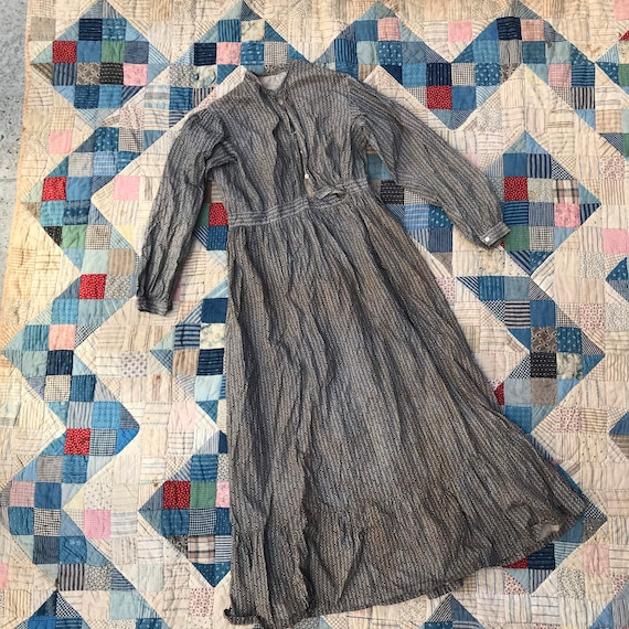 Antique Grey Calico Dress - image 1