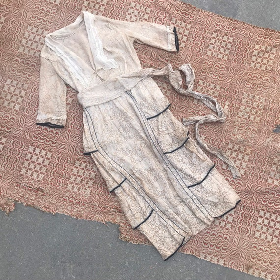 Antique India Print Cotton Edwardian Dress