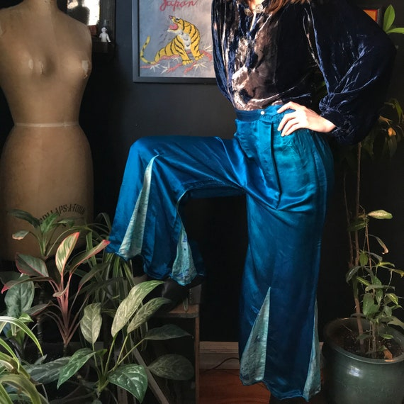 20s 30s Blue Silk Lounge Pants