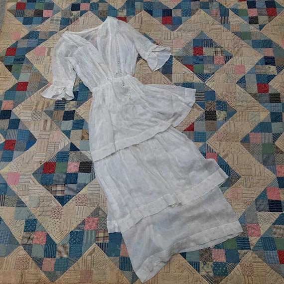 Edwardian Faded Print Tea Gown