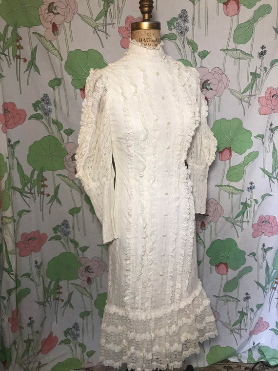 70s Edwardian Revival Lace Dress