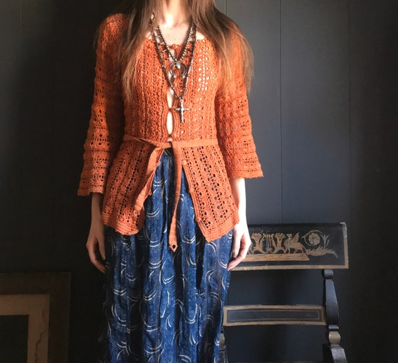 Burnt Orange Crochet Cardigan Sweater