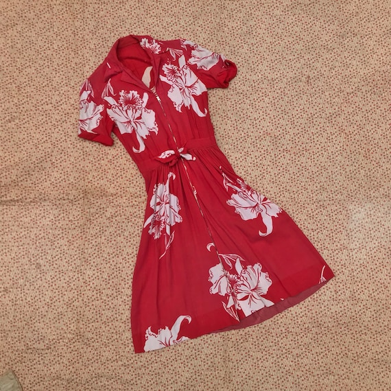 40s Floral Red Dress