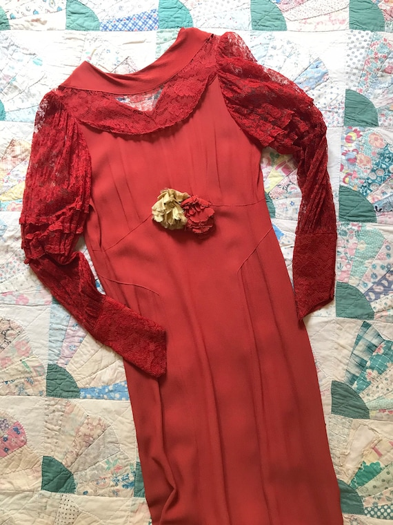 1930s Red Lace Sleeved Dress