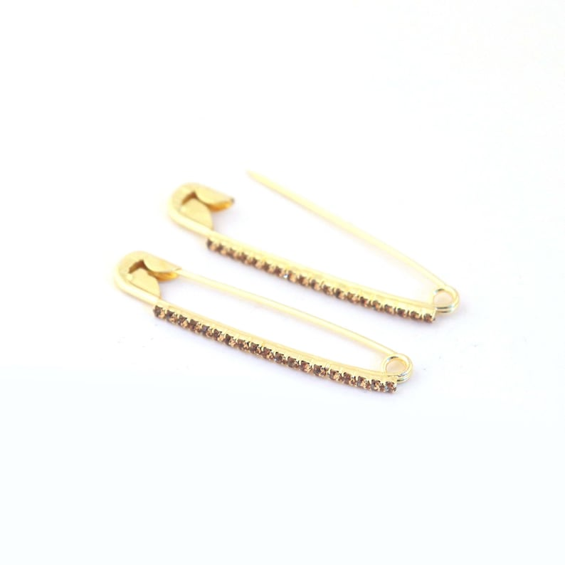 Cubic Zirconia Diamond Gold Plated On Brass Wire Pin 1 Piece Multi Color Zircon Rhinestone Safety Pin 53mm-11mm You Choose Jw003