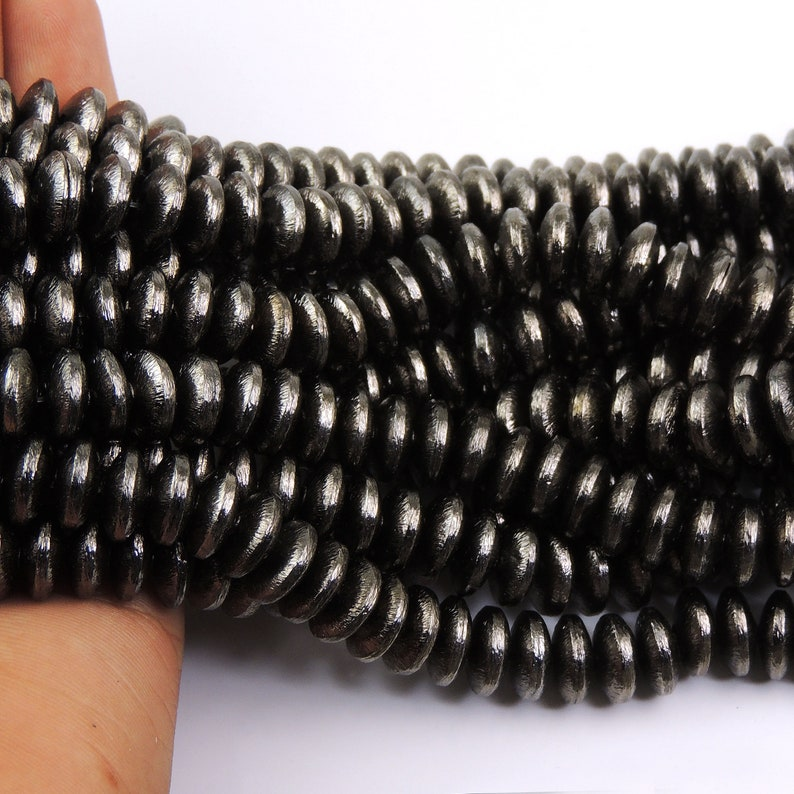 6 Strands Oxidized Silver Plated Copper Wheel  Shape Beads,Scratch Mat Black Copper Beads,Jewelry Supplies 10mm 9 inches Bulk Lot CCB055
