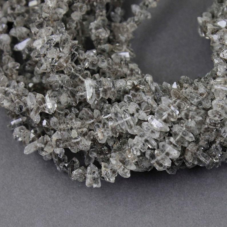 9 Stands Herkimer Diamond Quartz Nuggets Briolettes Herkimer Rough Stone Beads Jewelry Supplies 3mmx4mm-3mmx10mm 16 inches Bulk Lot SP453