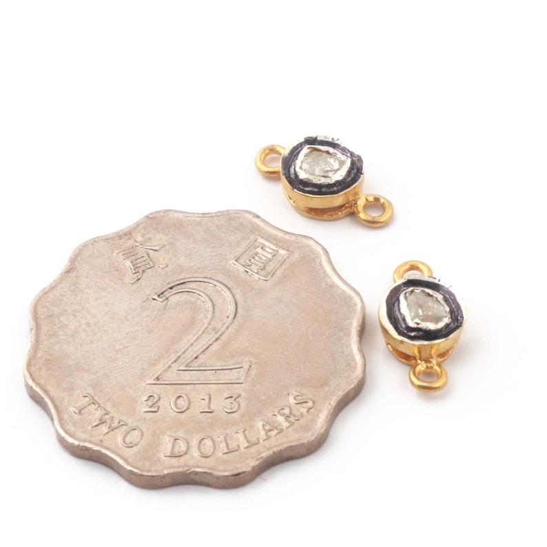 Pave Diamond Finding 13mmx7mm  DP230 1 Pc Polky Rose Cut Diamond Round Shape Connector 925 Sterling Vermeil Black Rhodium