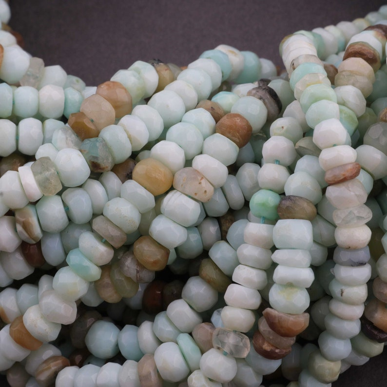 13 Strands Peru Opal Rondelles Faceted Roundelle Beads Gemstone beads jewelry making supplies 5mm  13.5 inch Long GB127