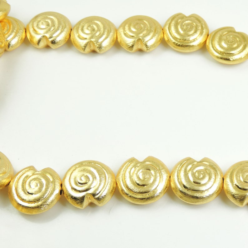5 Strands Gold Plated Copper Snail Shape Beads,Scratch Mat Finish Copper Beads,Jewelry Making Supplies 25mmx24mm 8 inches BulkLot CCB063