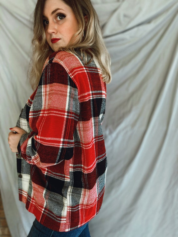 Vintage Red and Black Flannel, Soft Plaid Flannel… - image 4